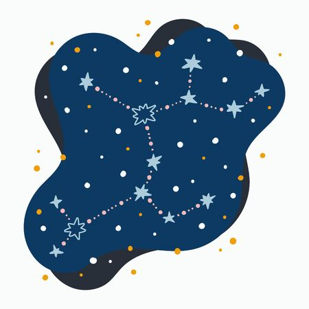 Cute constellation zodiac sign sagittarius. Doodles, hand drawn stars and dots in abstract space. Vector illustration.