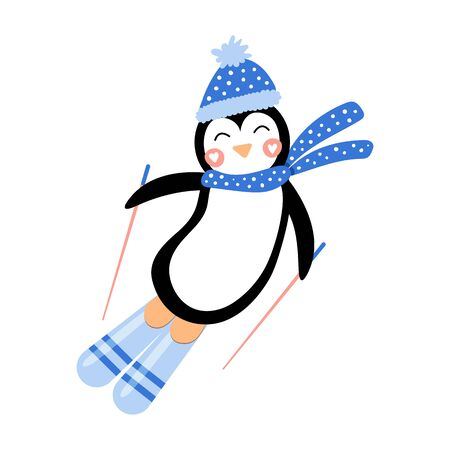 Cute character penguin in a hat and scarf on ski. Vector illustration. Hand drawn.