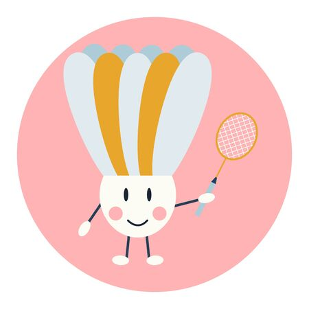 Cute kawai shuttlecock with a badminton racket in hand on a pink round background. Vector illustration.