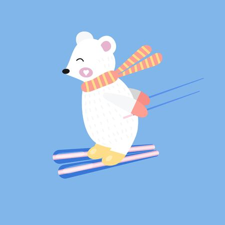 Cute white bear skiing down the mountain. Vector illustration. Hand drawn. 矢量图像