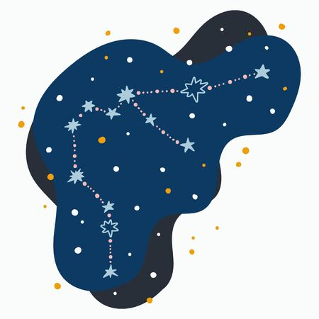 Cute constellation zodiac sign aquarius. Doodles, hand drawn stars and dots in abstract space. Vector illustration.