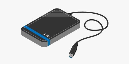 Isolated external hard drive with USB connector isometric. Vector illustration. 矢量图像