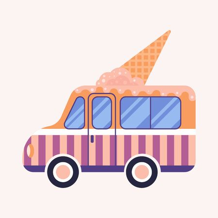 Food truck isolated. Van with ice cream. Vector flat illustration.