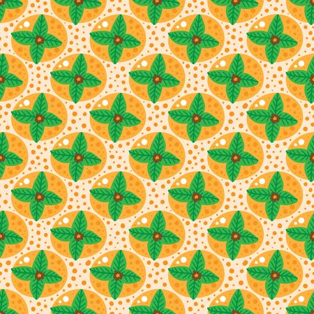 Seamless pattern with orange fruits with green leaves. Hand drawn scandinavian background with persimmon, orange, tangerine.