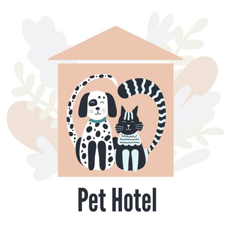 Pets hotel. Cat and dog. Silhouettes in the shape of a heart. Pink house. Leaves. Vector illustration.