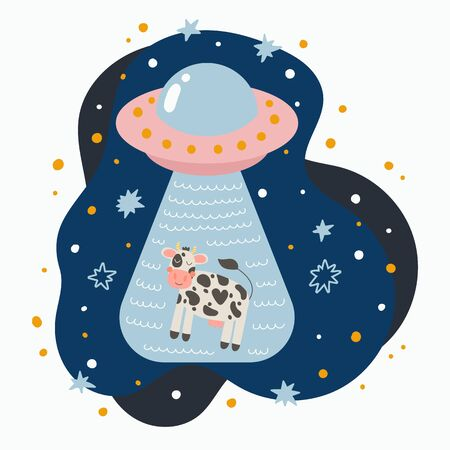 Cute flying saucer abduction a cow. Hand drawn doodle UFO in night sky. Vector illustration.
