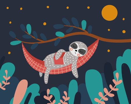 Cute sloth sleeps in a hammock with a book in his hands. Night in the forest. The tree and leaves. Vector illustration.