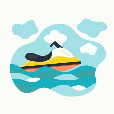 Flat jet ski. Hydrocycle in the waves. Water bike. Vector illustration.
