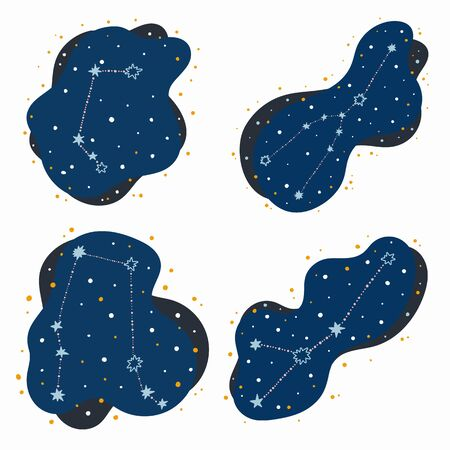 Set cute constellation zodiac signs aries, taurus, gemini, cancer. Doodles, hand drawn stars and dots in abstract space. Vector illustration. 矢量图像