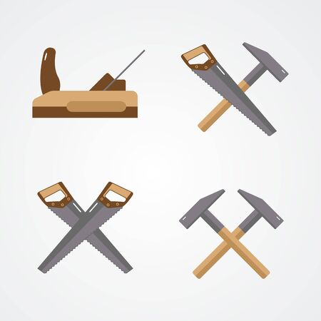 Carpenter tools isolated on white background. Set flat icons. Saw, hammer, plane. Vector illustration. 矢量图像