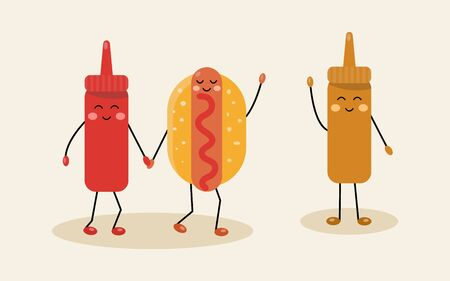 Cute hot dog with ketchup and mustard. characters. Vector food illustration. 矢量图像