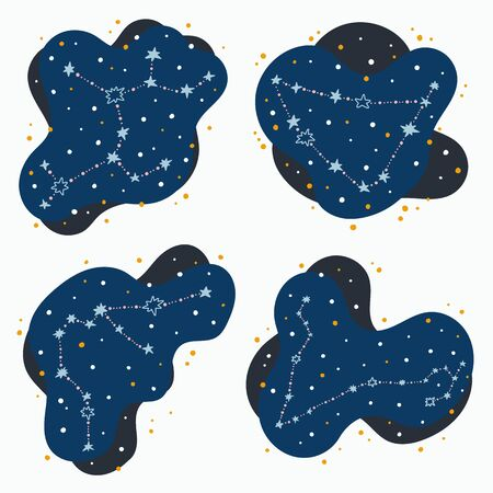 Set cute constellation zodiac signs sagittarius, capricorn, pisces, aquarius. Doodles, hand drawn stars and dots in abstract space. Vector illustration.