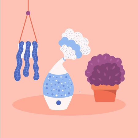 Flat humidifier. Pot with plant and hanging pot. Trendy color. Pink, purple, blue.