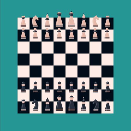 Set chess piece on board. King, queen, bishop, knight, rook, pawn. Pink and dark blue figures. 矢量图像