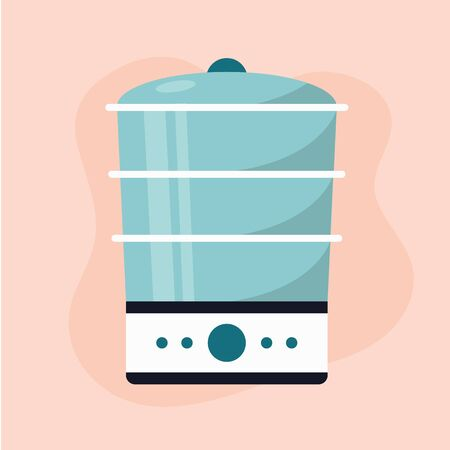 Flat icon modern blue and white steamer pink background. Kitchen appliances. Vector illustration.