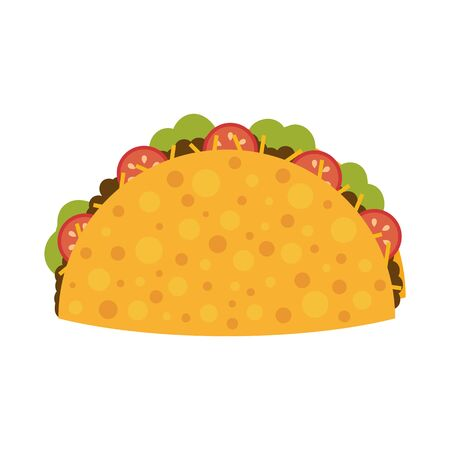 Mexican food. Flat taco. Cartoon tasty fast food tacos isolated on white background. Vector illustration. 矢量图像