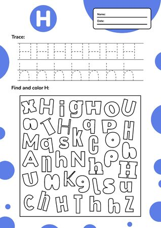 Trace letter worksheet a4 for kids preschool and school age. Game for children. Find and color.