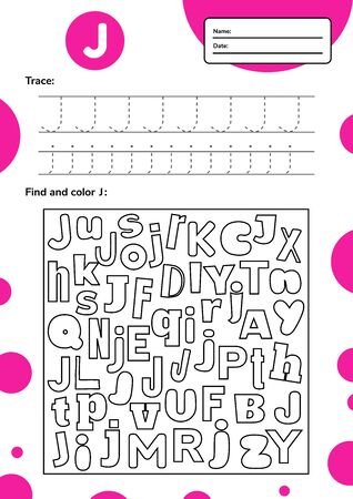 Trace letter worksheet a4 for kids preschool and school age. Game for children. Find and color. 免版税图像 - 146940414