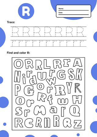 Trace letter worksheet a4 for kids preschool and school age. Game for children. Find and color. Vector illustration. 免版税图像 - 146940415