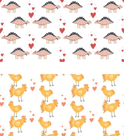 Set seamless pattern. Vector illustration. Nursery cute print with chickens and hearts and with dinosaurs. Happy Valentine's day. 14 February. Yellow, pink, orange.