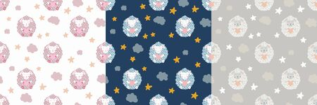 Cute sheep. Star and cloud. Set nursery seamless pattern. Vector kids illustration. For children's textiles, home decor, clothing.