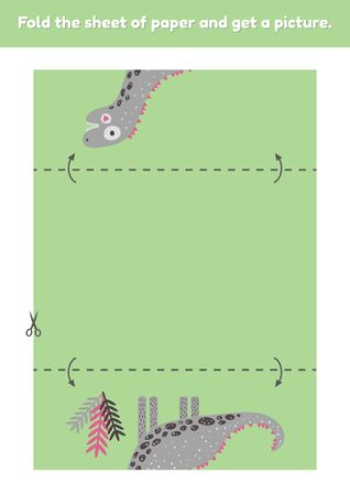 Fold the sheet of paper and get a picture cute dinosaur. Education game for kids. Worksheet for kindergarden and preschool age. Development fine motor skills. Vector illustration.