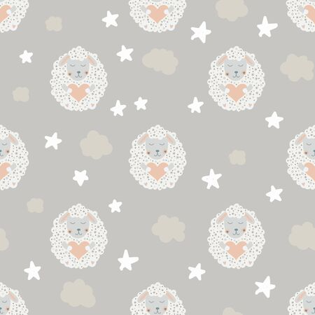 Cute sheep. Star and cloud. Nursery pink and grey seamless pattern. Vector kids illustration. For children's textiles, home decor, clothing. 矢量图像