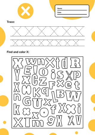 Trace letter worksheet a4 for kids preschool and school age. Game for children. Find and color. Vector illustration.
