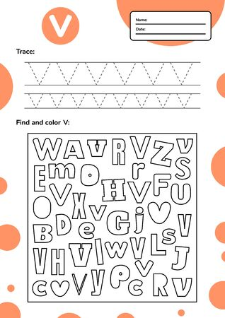 Trace letter worksheet a4 for kids preschool and school age. Game for children. Find and color. Vector illustration. 免版税图像 - 147480222
