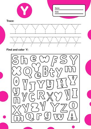Trace letter worksheet a4 for kids preschool and school age. Game for children. Find and color. Vector illustration. 免版税图像 - 148977040