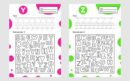 Set trace letter worksheet a4 for kids preschool and school age. Game for children. Find and color. Vector illustration.