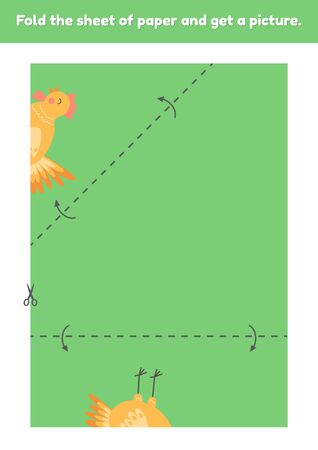 Fold the sheet of paper and get a picture cute rooster. Education game for kids. Worksheet for kindergarden and preschool age. Development fine motor skills. Vector illustration. 免版税图像 - 148977039