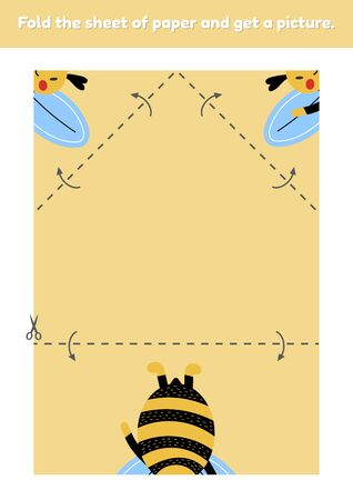 Fold the sheet of paper and get a picture cute bumblebee. Education game for kids. Worksheet for kindergarden and preschool age. Development fine motor skills. Vector illustration. 免版税图像 - 147480729