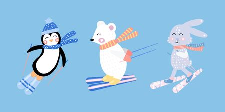 Set cute hare, white bear, penguin on skis. Funny rabbit. Vector illustration for kids. Hand drawn. 免版税图像 - 148295278