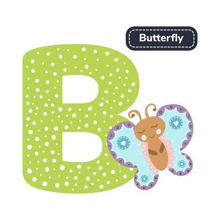 Kids alphabet. Letter b. Cute cartoon butterfly.