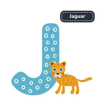 Kids alphabet. Letter j. Cute cartoon jaguar.