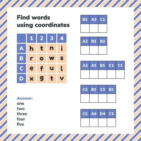 Educational game for preschool and school age children. Find words using coordinates. Puzzle worksheet page. 免版税图像 - 149187961