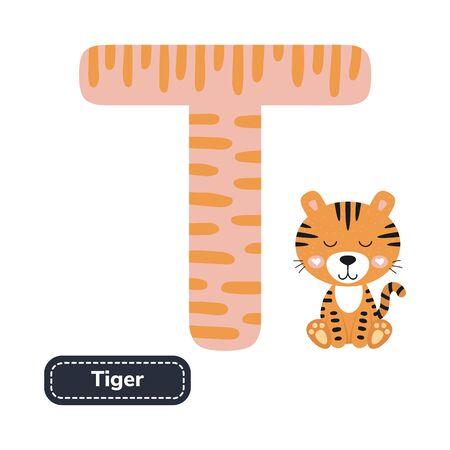 Kids alphabet. Letter t. Cute cartoon tiger.