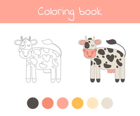 Coloring book with cute farm animal a cow. For kids kindergarten, preschool and school age. Vector illustration. 免版税图像 - 151105985