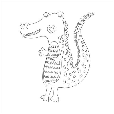 Coloring book with cute wild animal an alligator. For kids kindergarten, preschool and school age. Vector illustration. 免版税图像 - 151105986