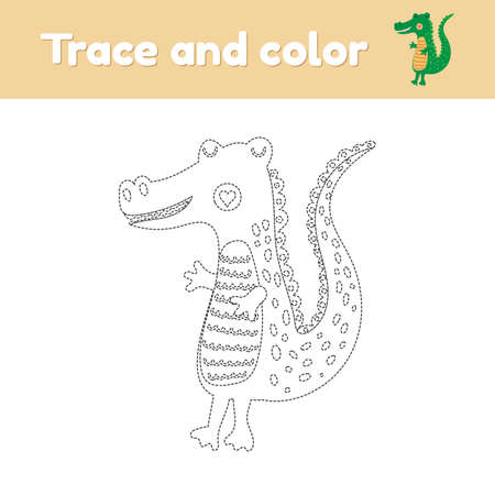 Coloring book with cute wild animal an alligator. For kids kindergarten, preschool and school age. Trace worksheet. Development of fine motor skills and handwriting. Vector illustration.