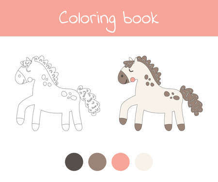 Coloring book with cute farm animal a horse. For kids kindergarten, preschool and school age. Vector illustration. 免版税图像 - 151105988