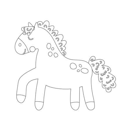 Coloring book with cute farm animal a horse. For kids kindergarten, preschool and school age. Vector illustration. 免版税图像 - 151105991