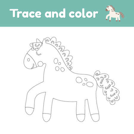 Coloring book with cute farm animal a horse. For kids kindergarten, preschool and school age. Trace worksheet. Development of fine motor skills and handwriting. Vector illustration.