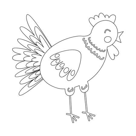 Coloring book with cute farm animal a chicken. For kids kindergarten, preschool and school age. 免版税图像 - 151683850