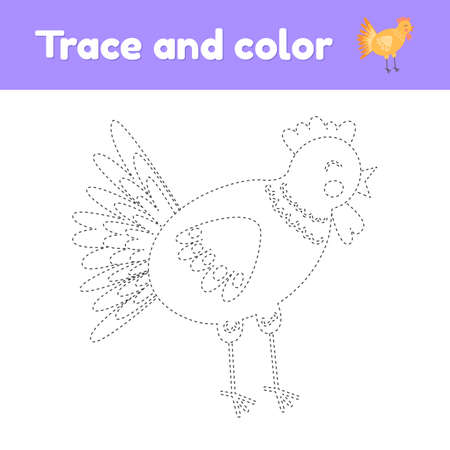 Coloring book with cute farm animal a chicken. For kids kindergarten, preschool and school age. Trace worksheet. Development of fine motor skills and handwriting. 免版税图像 - 152009894