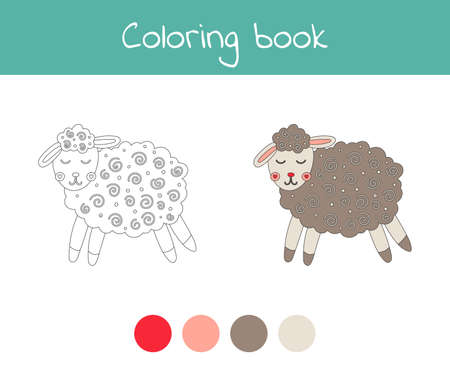 Coloring book with cute sheep animal. For kids kindergarten, preschool and school age. 免版税图像 - 152008596