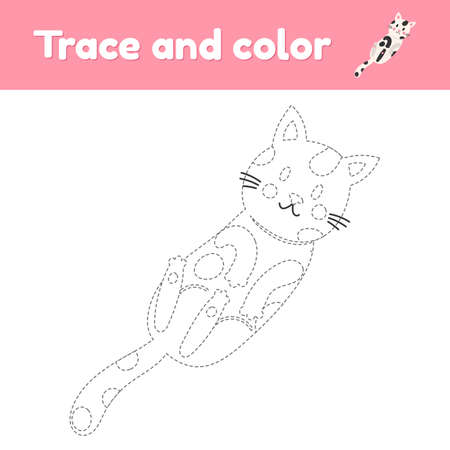 Coloring book with cute animal a cat. For kids kindergarten, preschool and school age. Trace worksheet. Development of fine motor skills and handwriting.
