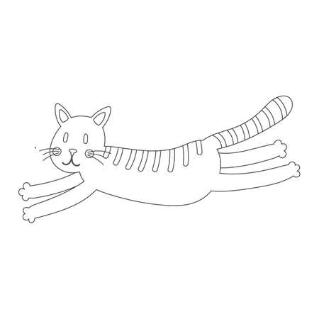 Coloring book with cute cat animal. For kids kindergarten, preschool and school age. 免版税图像 - 153293031