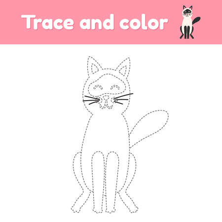 Coloring book with cute animal a cat. For kids kindergarten, preschool and school age. Trace worksheet. Development of fine motor skills and handwriting. 免版税图像 - 152940123